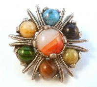 Vintage Scottish Style Faux Agate Brooch By Miracle.